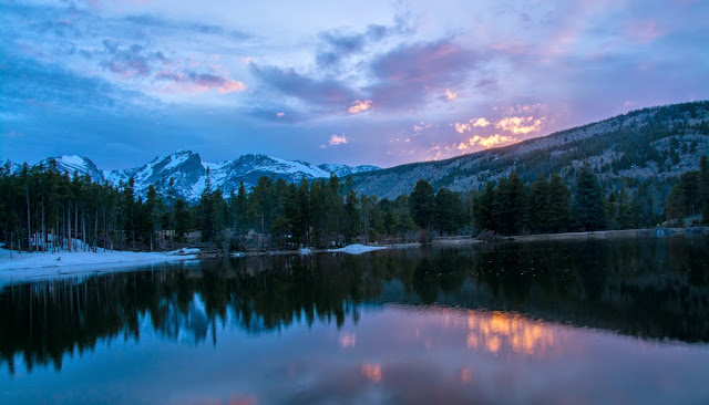 Sunset at Sprague Lake, Rocky Mountain National Park