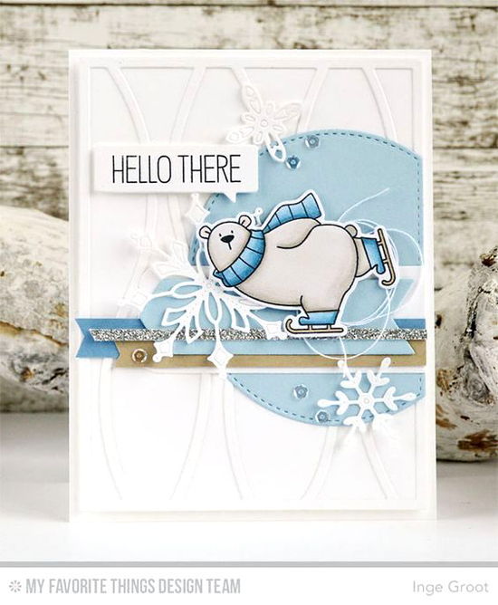 Handmade card from Inge Groot featuring Birdie Brown Polar Bears stamp set and Die-namics, Horizontal Snow Drifts Cover-Up, Stylish Snowflakes, Stitched Arch STAX, and Blueprints 7 Die-namics #mftstamps