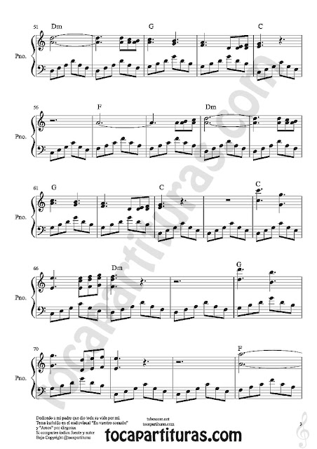 "3  Partituras de Piano ""En Tu Corazón"" partitura facil con sentimiento para pianistas In youy heart Easy Pianists sheet music"