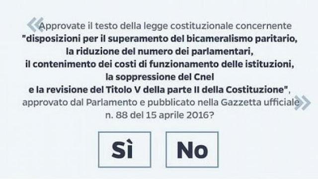 referendum costituzionale scheda e quesito