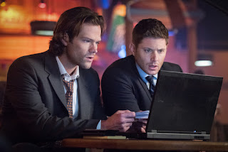 "Jared Padalecki as Sam Winchester and Jensen Ackles as Dean Winchester in Supernatural 12x11 ""Regarding Dean"""