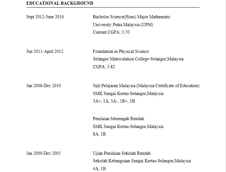 contoh resume educational background