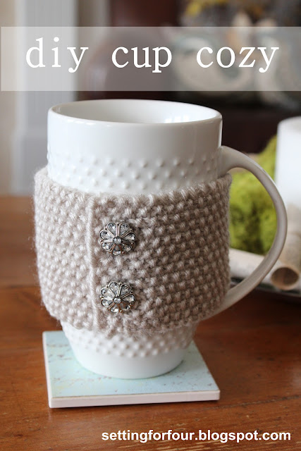 Learn how to make this EASY DIY Knitted Cup Cozy with vintage buttons for yourself or for a gift! craft | mug | drink | knitting | pattern | tutorial