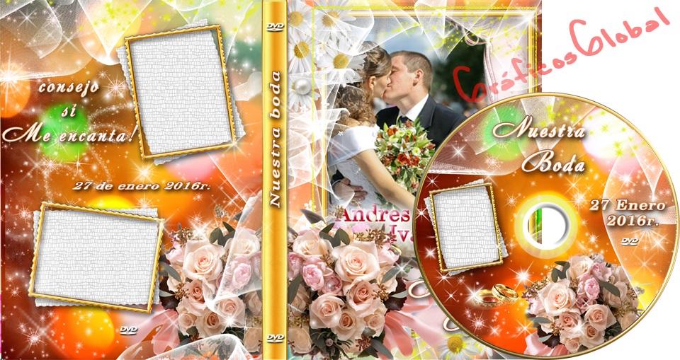 Plantilla psd tipo FLORAL para portada y etiqueta DVD