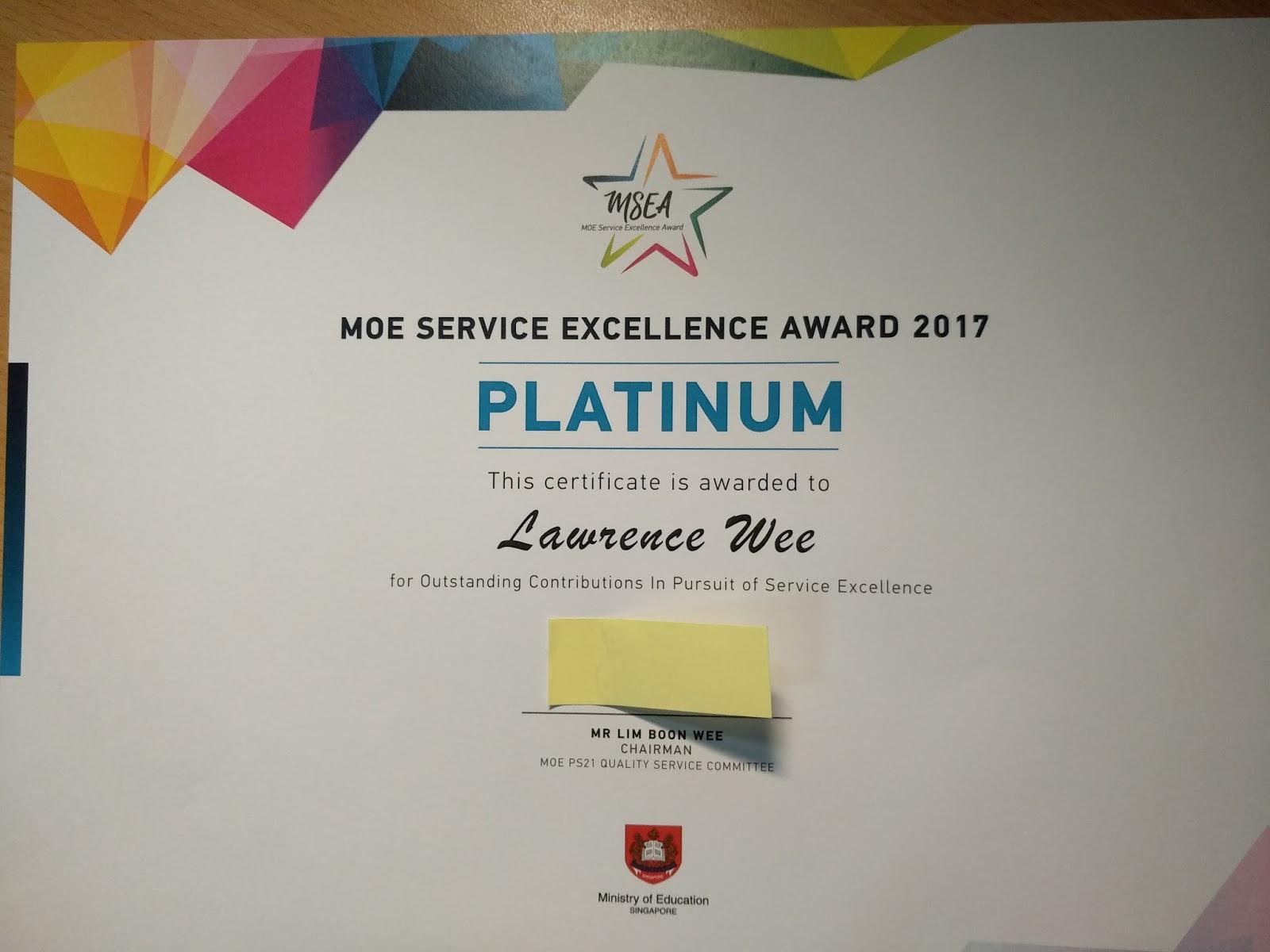 Congratulations to all MOE Service Excellence Award (MSEA) 2017