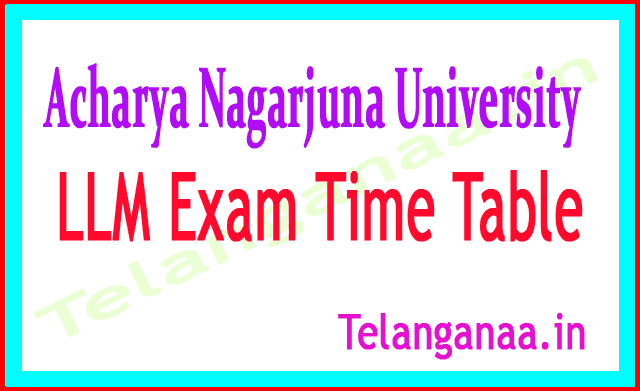 Acharya Nagarjuna University ANU LLM RegSupply Exam Time Table