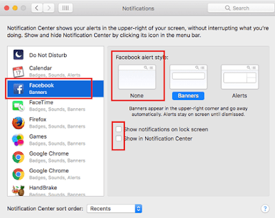Disable Facebook Notification in notification center of Mac