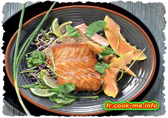 Pavé de saumon grillé à la papaye
