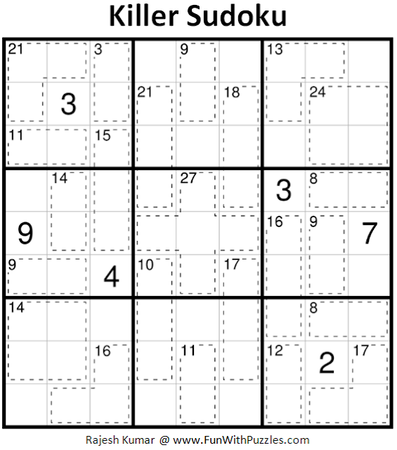 Killer Sudoku Puzzle (Fun With Sudoku #233)