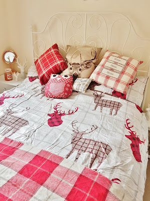 festive bedding with check stag print