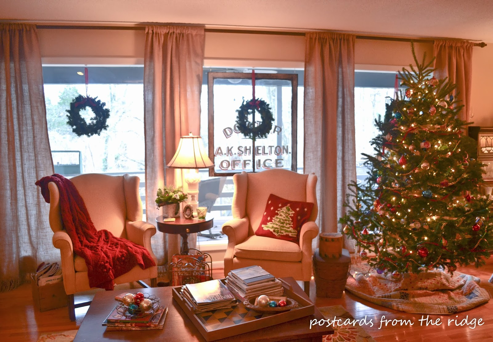 The Tree Is Decorated With Vintage Mercury Glass Ornaments And Skirt An Old Quilt Doctors Office Windows One Of My Favorite Finds