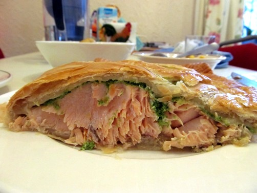 Salmon En Croute sliced