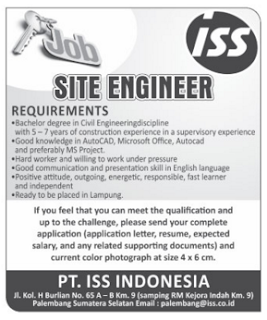 JOB in Lampung PT. ISS INDONESIA