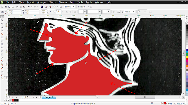 Agora clique com o botão direito no x da paleta para tirar o contorno.