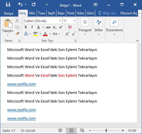 Microsoft Word Ve Excel'de Son Eylem Nasıl Otomatik olarak Tekrarlanır? -www.ceofix.com
