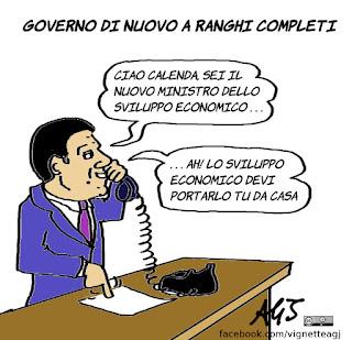guidi, calenda, renzi, governo, sviluppo economico, vignetta, satira