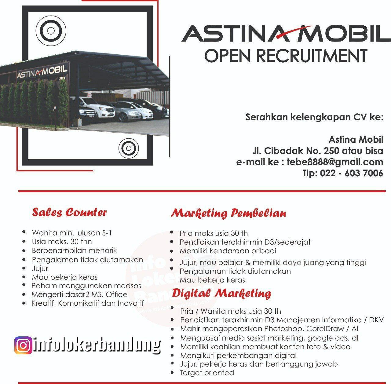 Lowongan Kerja Astina Mobil Bandung April 2019
