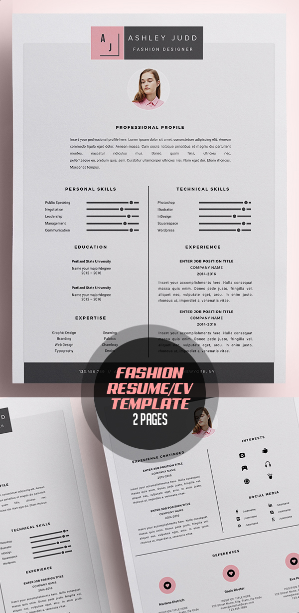 Fashion Designer Resume Template Cv Freebies Psd