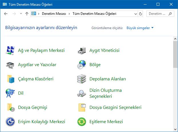 Windows'da Denetim Masası büyük simgeler