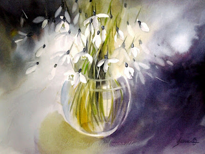 watercolor snowdrops