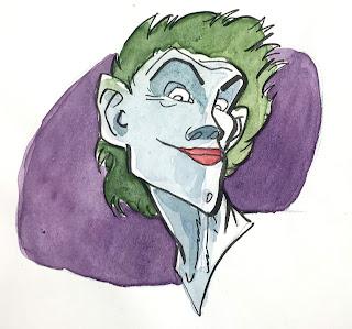 Petit portrait au trait à l'encre de Chine et à l'aquarelle du célèbre ennemi juré de Batman : le Joker