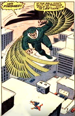 Amazing Spider-Man #48, john romita, spider-man lies unconscious and defeated, in the snow, as blackie drago, the new vulture flies away in triumph