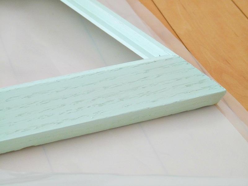 Vintage wood frame painted mint green