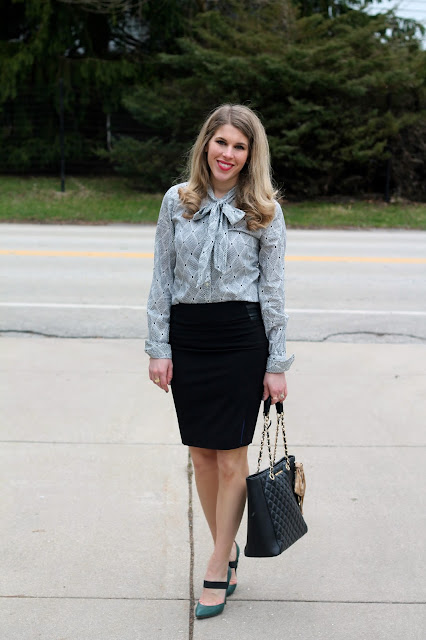 Gap bow tie blouse, Rita and Phil black pencil skirt, green J.Crew heels, Greg Michaels tote, spring work outfit, work wear