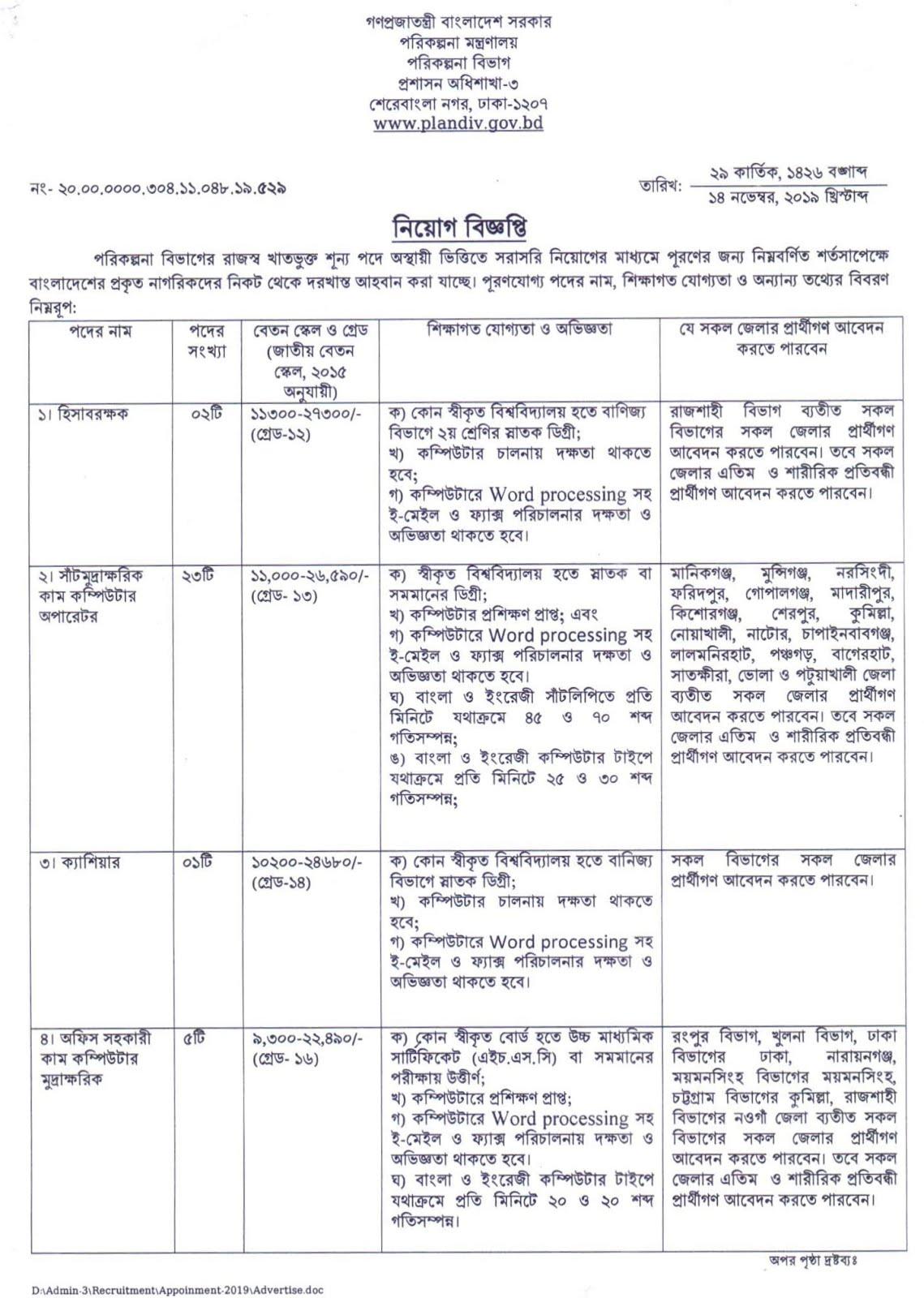 পরিকল্পনা বিভাগে নিয়োগ বিজ্ঞপ্তি ২০২০ – Planning Division Job Circular 2020 - সরকারি চাকরির খবর ২০২০/2020