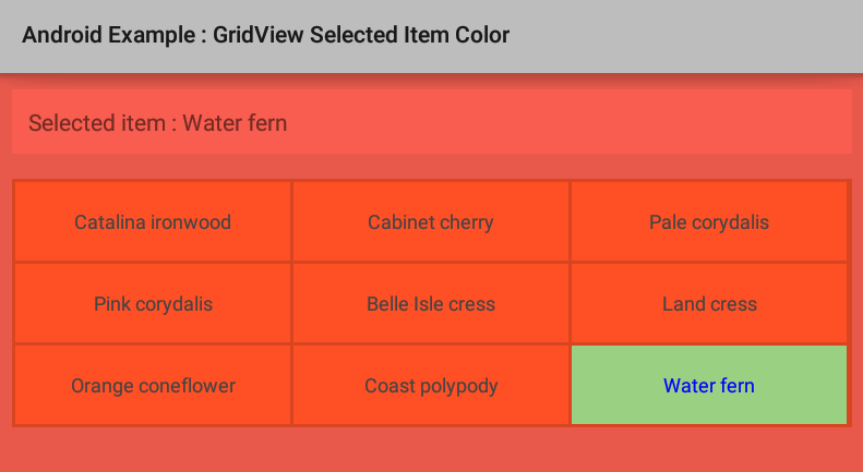 How to change GridView selected item background color in Android