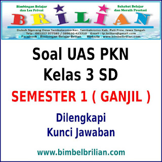 Soal UAS PKN Kelas 3 SD Semester 1 ( Ganjil ) dan Kunci Jawaban