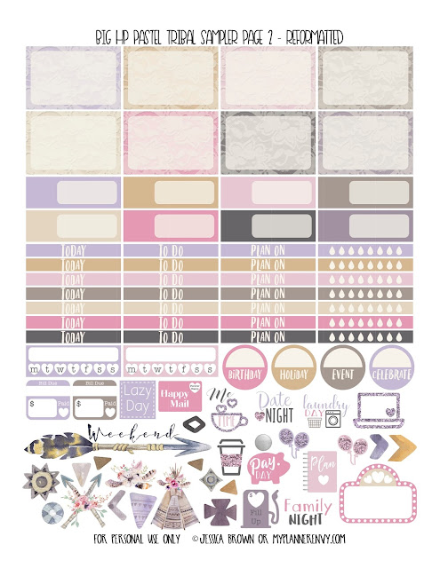 Free Printable Reformatted Big HP Pastel Tribal Sampler Page 2 from myplannerenvy.com