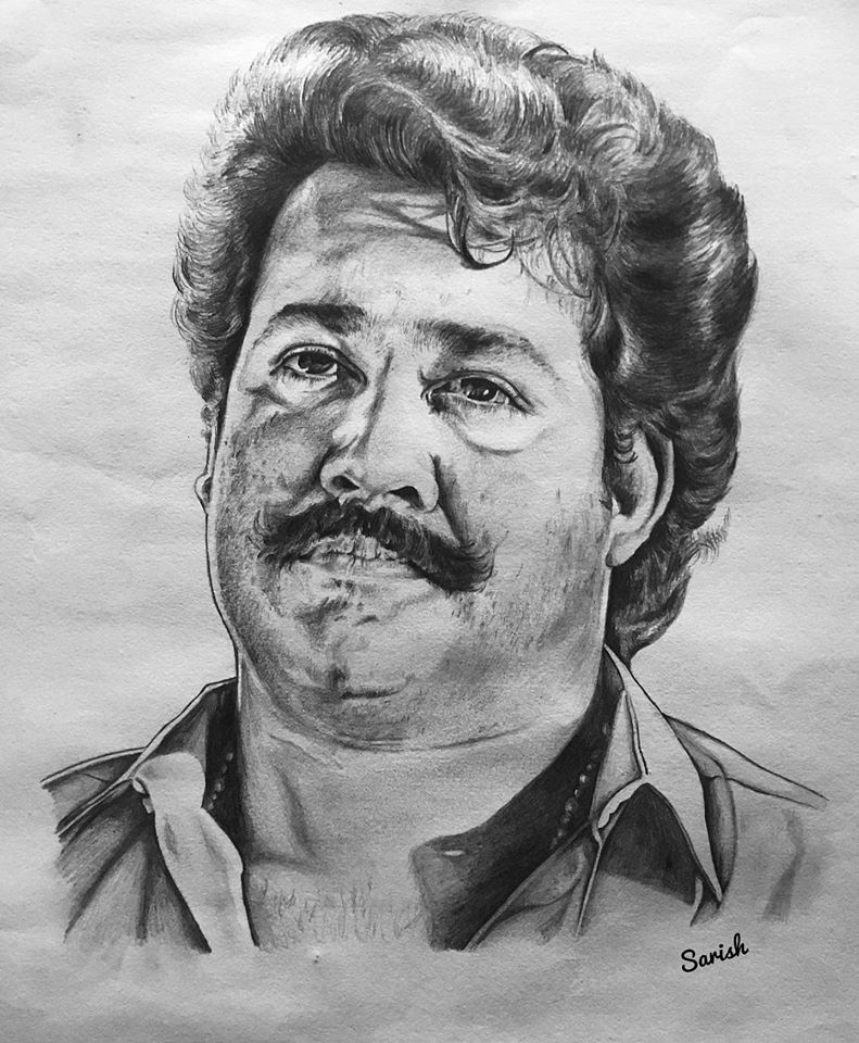 Pencil drawing of actor Mohanlal Old Look