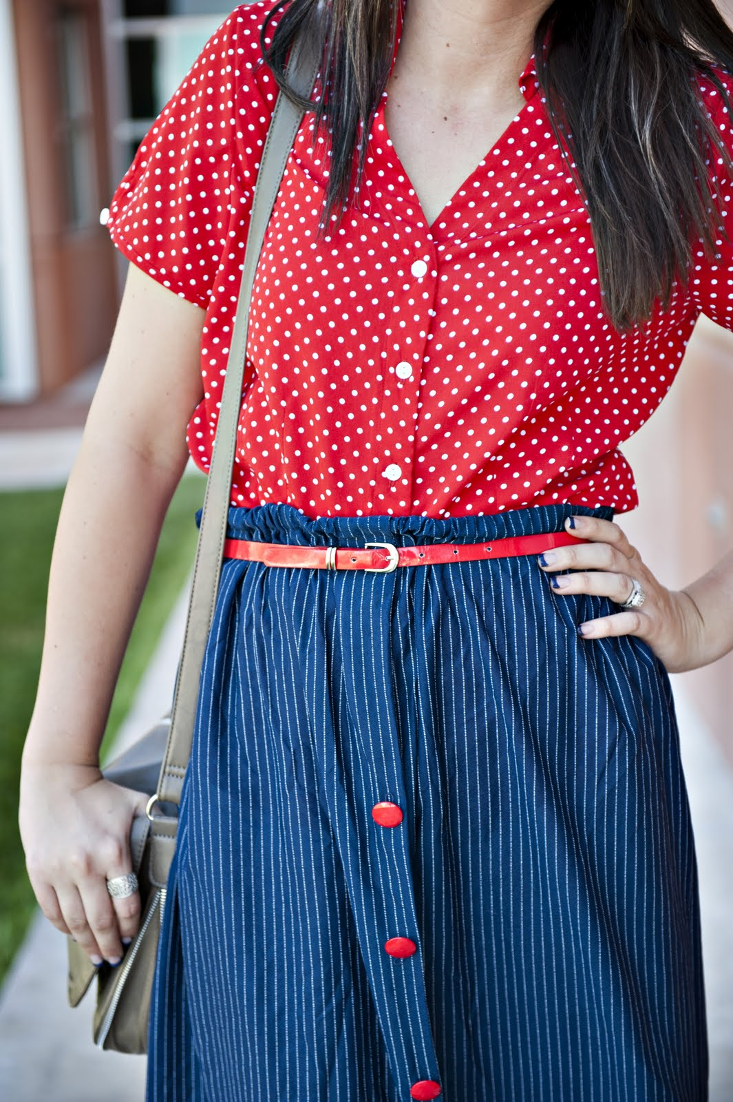 Polka Dots, Red Button Up