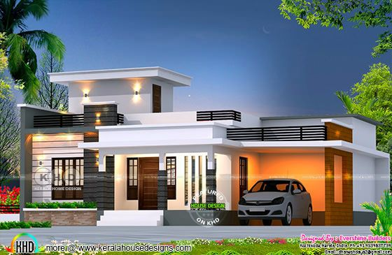 Flat roof budget oriented home 1361 sq-ft