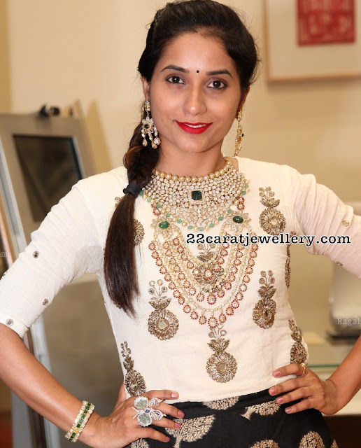 Bhanu Priya Kundan Set Three Layer Long Set