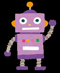 玩具のロボットのイラスト(紫)