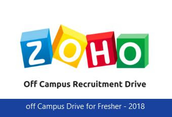 ZOHO Corp off Campus Drive for Fresher - 2018