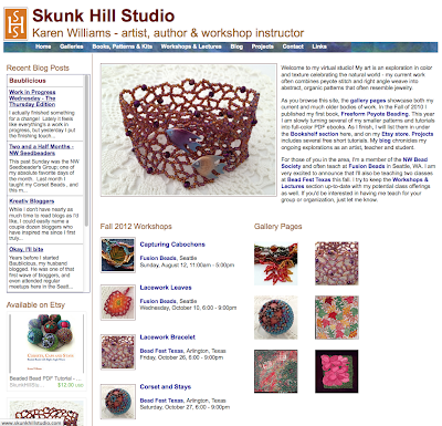 Screenshot of new home page for www.skunkhillstudio.com