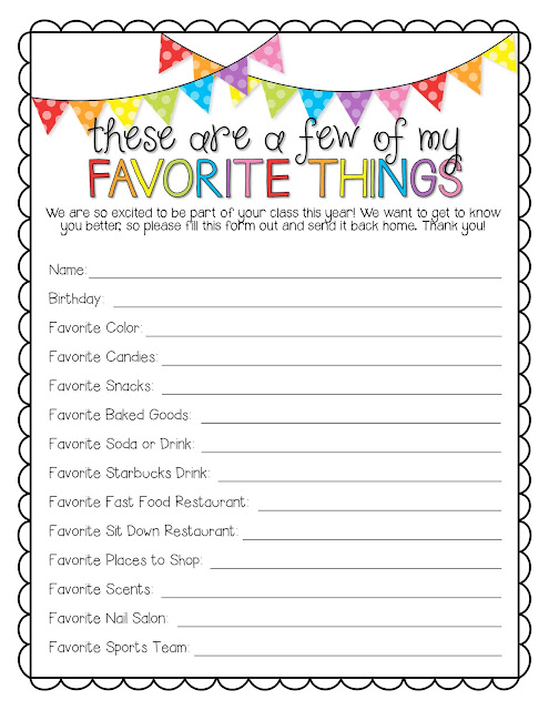 Hilaire image pertaining to teacher favorite things questionnaire printable
