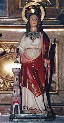 Santa Bárbara en la Iglesia de Santa María de Pelúgano de Arriba, Aller