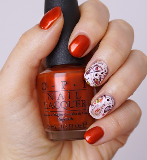 Herbst Nail-Art mit Water Decals (Alter Lack, neues Design!), Orange, Rot, OPI - Deutsch you want me baby, Schimmer