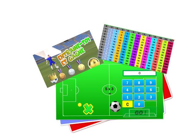 s'amuser au foot réviser, apprendre s'entraîner aux multiplicatiions