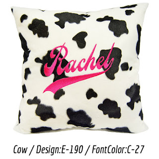 Personalized cushion with cow print faux fur
