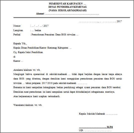 Contoh Surat Pengajuan Dana Operasional Suratmenyuratnet