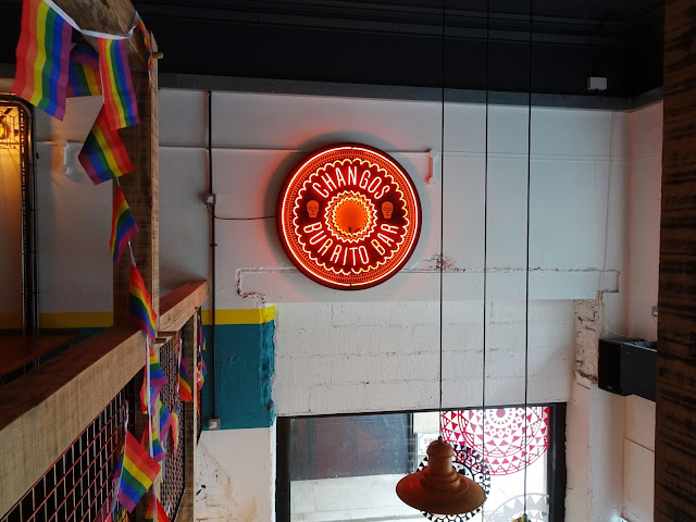 Decoration inside Changos Burrito Bar