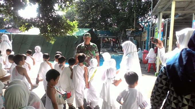 Babinsa Koramil 03/Sukmajaya Bantu Latihan Manasik Haji