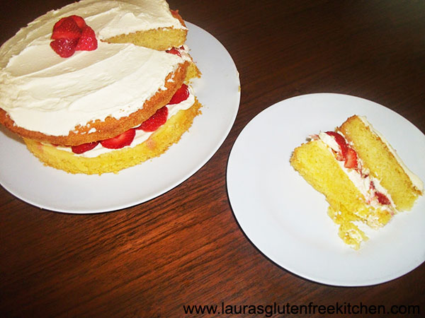 Gluten Free Strawberry and Cream Sponge Cake