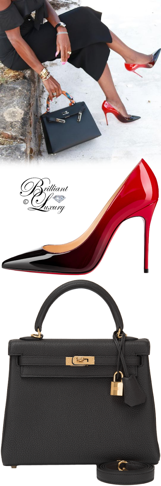 Brilliant Luxury ♦ Christian Louboutin Decolleté pumps #red and Hermès Kelly bag #black #streetstyle