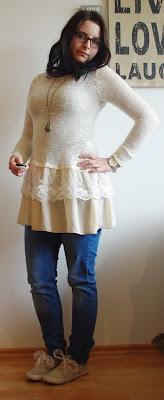 [Fashion] Romantic Crochet &  Lace Sweater Dress